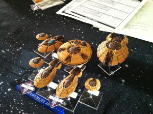 The playtest fleet, plus a Judgement.