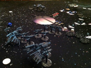 The Eldar fleet presses forward.