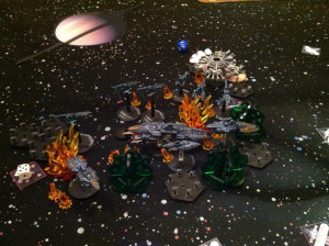 The Eldar fleet disintegrates.