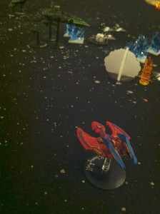 Klangfull with one hull box left, about to fire jury-rigged spines at Baal.
