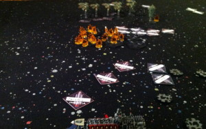 Laser fire from the battle line targets the fighters.