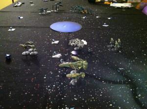 Hunkering down behind Encedalus.