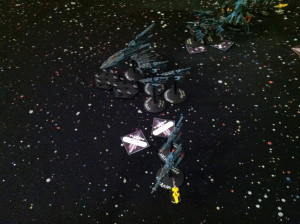 The Eldar launch their ordinance.