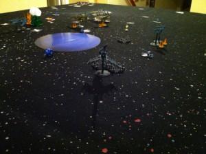 Ikazuchi knocks down Ven'Tril's shields.