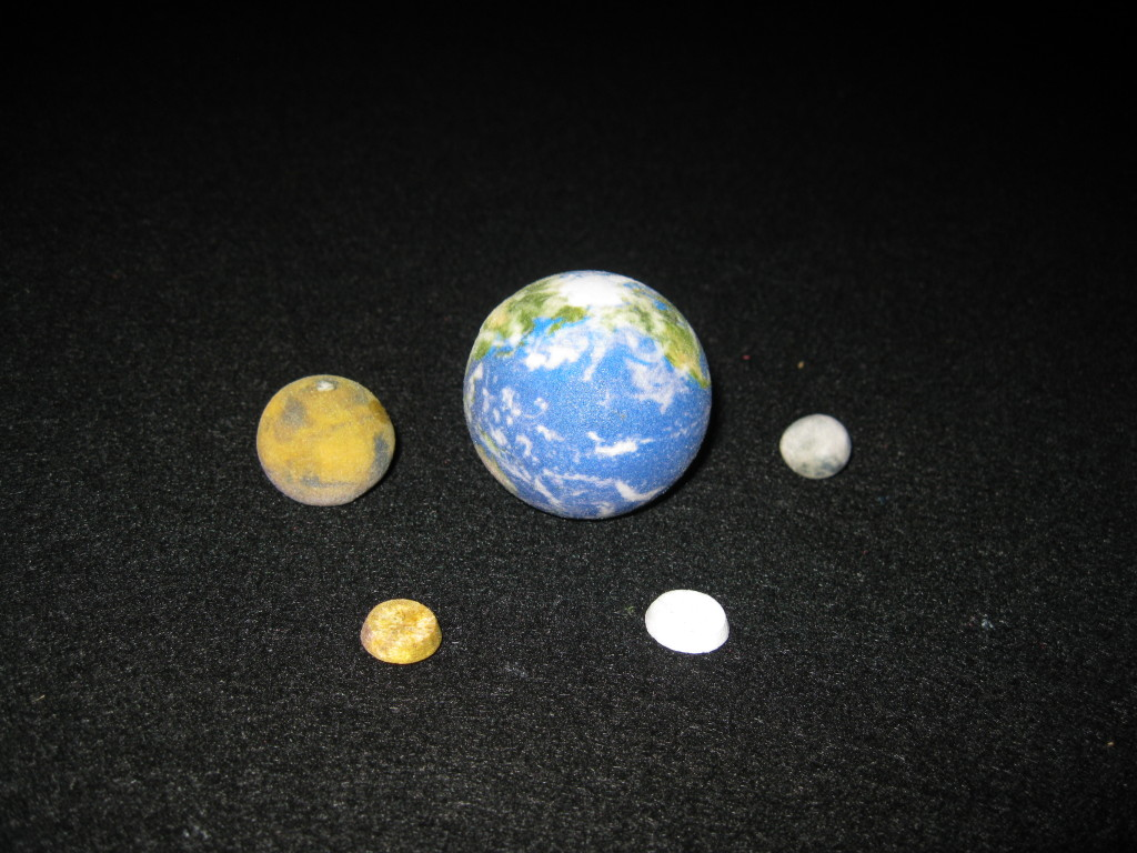 Mars, Earth, and Moon